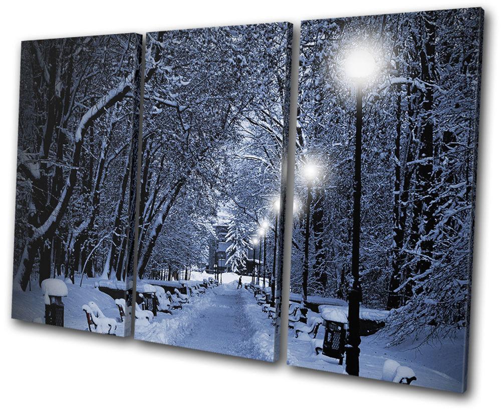 Snow Scene Scene Scene park Romantic Walk Landscapes TREBLE TELA parete arte foto stampa 744711