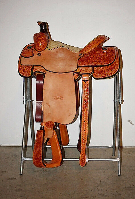 Western Natural Leather Hand carved Roper Ranch Saddle    15 ,16 ,17 ,18  more order