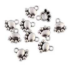 Wholesale 30pcs Paw Dogs Print Beads Tibetan Silver Charms Pendant DIY 10*10mm