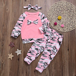 Baby Girls Camouflage Back Bow Long Sleeve Blouses/&Pants/&Hairband 3pcs Outfits