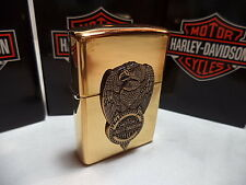 ZIPPO LIGHTER FEUERZEUG HARLEY DAVIDSON EAGLE ON TIRE BRASS DISCOUNT NEW