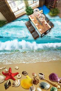 3D Cielo Playa Conchas de Papel de parojo de piso 943 Impresión De Parojo Murales AJ Wallpaper Reino Unido Limón