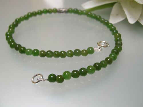 """Vintage nature untreated 4mm Chinese Jade 925 silver spacer 9 9.5 /&10.5/"""" Anklet"""