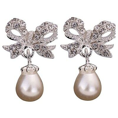 wedding bridal party Xmas Jewelry gift Crystal Pearl Bow knot ear Stud Earrings