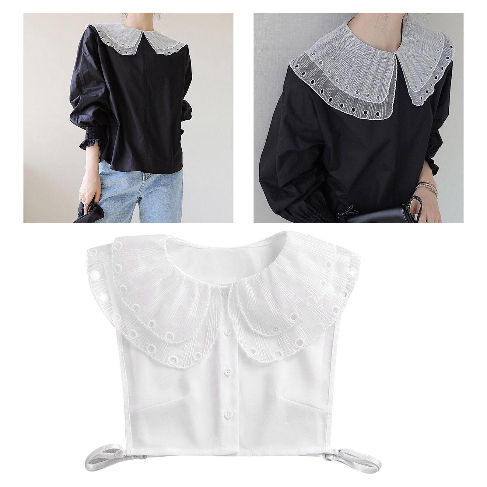 Womens Chiffon Lace Faux Collar, Elegant Peter Pan Collar Detachable Half Shirt