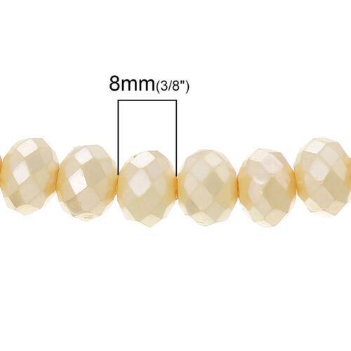 OPAQUE AB CREAM CRYSTAL FACETED RONDELLE BEADS~8mm~Bracelets 144 STRAND