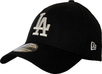 100% Vero La Dodgers Nuova Era 3930 Lega Essenziale Nero Elasticizzato Fit Baseball-