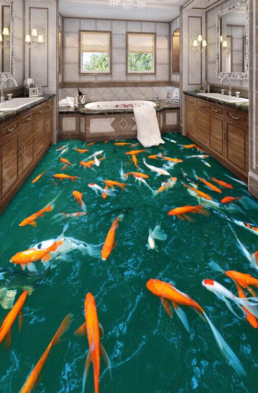 3D Carpe Farbeate 387 Pavimento Foto Wallpaper Murales Muro Stampa Decalcomania