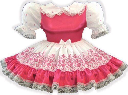 Chrissie CUSTOM FIT Satin & Hot PINK Eyelet Adult LG Baby Sissy Dress LEANNE