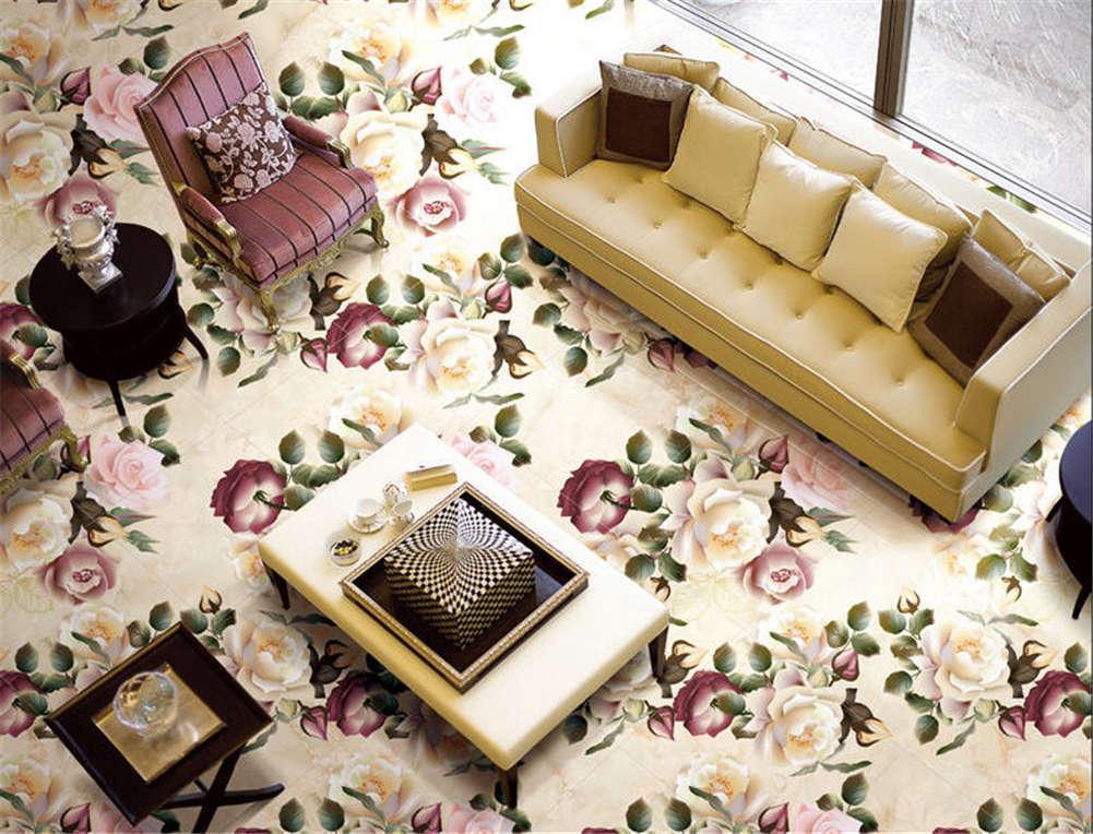 Dazzling Blossom  3D Floor Mural Photo Flooring Wallpaper Home Print Decoration