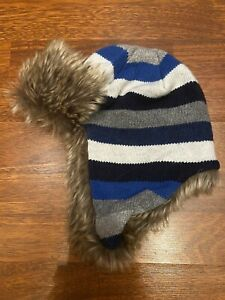 Younger Boys Knitted Stripe Trapper Hat Fleece Lined Navy Blue Grey Ear Flaps