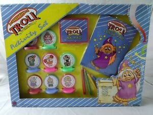 Rare-1992-Norfin-Troll-Activity-Set-Troll-Stamps-New-Open-Box-Fasco