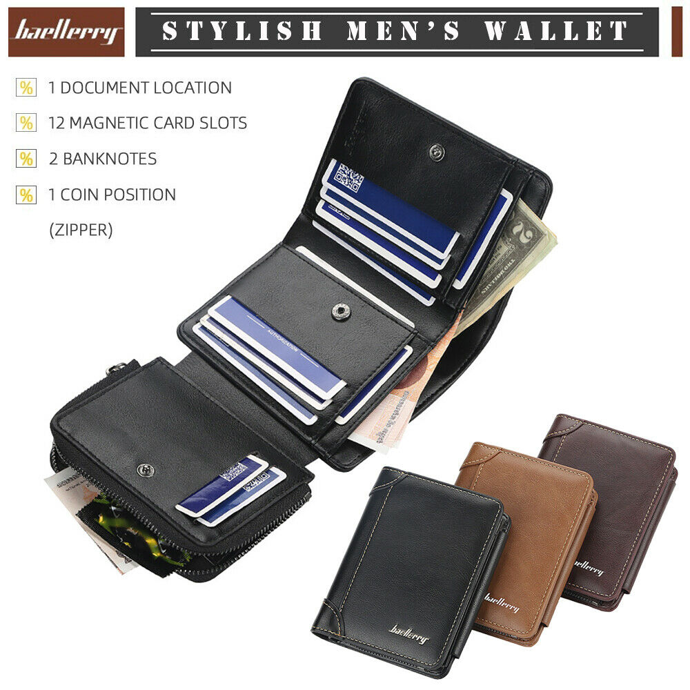 Men's Stylish Wallet Multi-Card Coin Purse Zipper PU Wallet Credit Card Holder