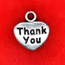 6 x Tibetan Silver 'Thank You' Love Heart Charm Pendant Jewellry Making Craft