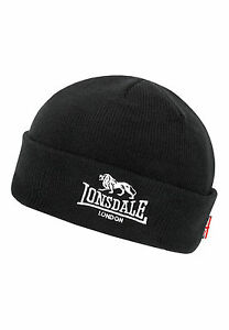 Lonsdale-Black-Pull-Down-Beanie-Hat-Cap-with-Embroided-Logo-and-Union-Jack-Flag