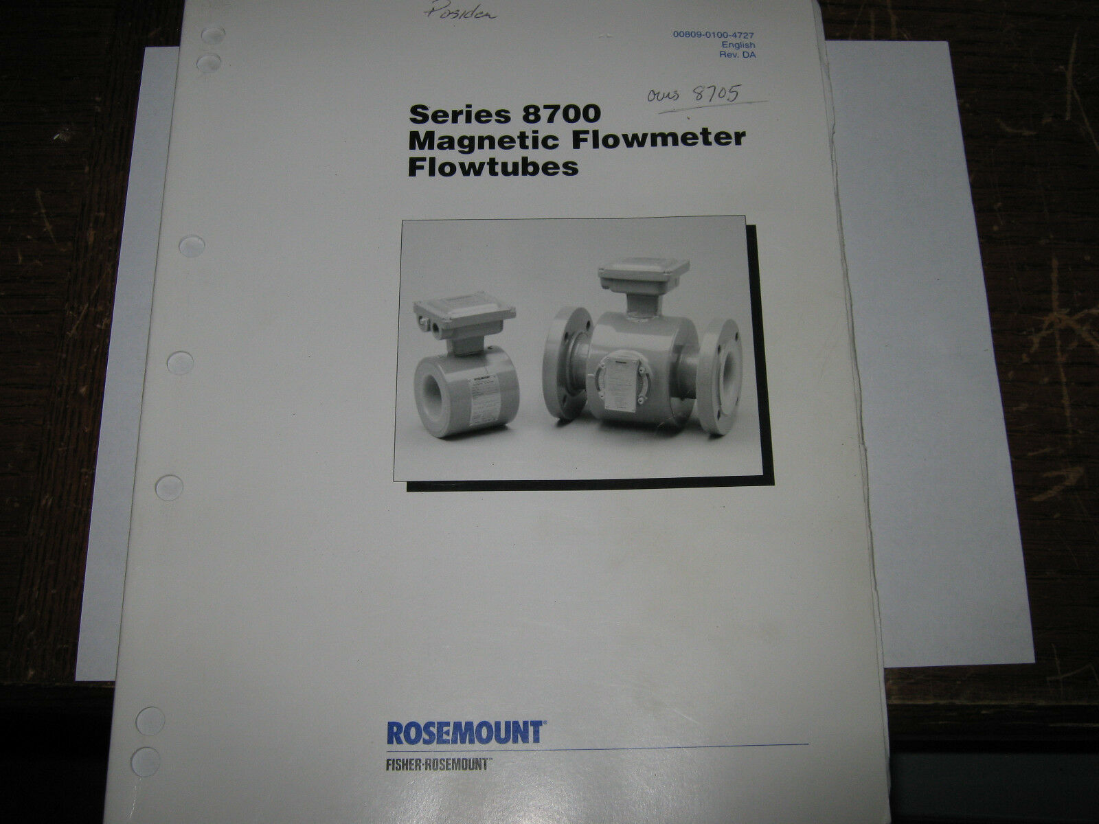 pinkmount 00809-0100-4727 Series 8700 Magnetic Flowmeter Flowtubes Manual, Used