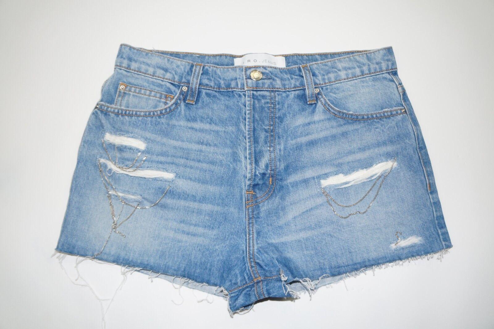 IRO Denim Gacily Chain Detail High Waisted Jean Shorts