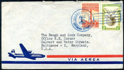 DOMINICANA TO USA Air Mail Cover VERY NICE!