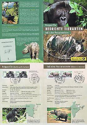 Brd 2001: Gorilla Und Nashorn! Erinnerungsblatt Je Zwei Nr. 2182 Und 2183! 1905