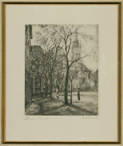 R-L-Framed-20th-Century-Etching-Aachen-Cathedral-Germany