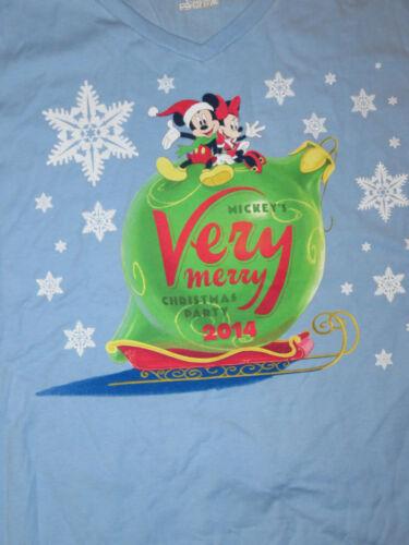 XL Disney Mickeys Very Merry Christmas Party 2014 Womens Blue T-Shirt