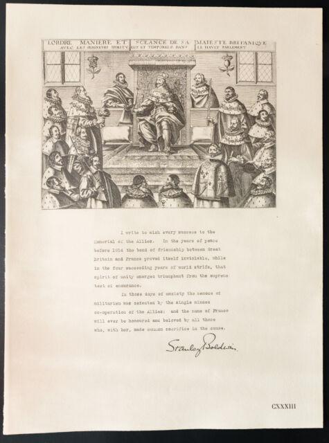 1926 - Litografia citazione Stanley Baldwin. WW1