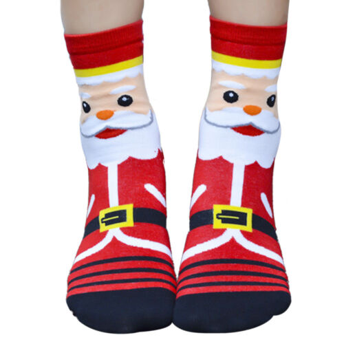 3D Cartoon Christmas Sock Womens Winter Warm Cotton Footprints Party Socks Floor