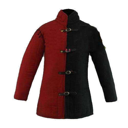 X-Mas Gift Medieval Thick Padded Red And Black Gambeson COSTUMES DRESS SCA