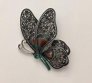 Vintage-Style-Large-Butterfly-Brooch-enamel-on-Metal