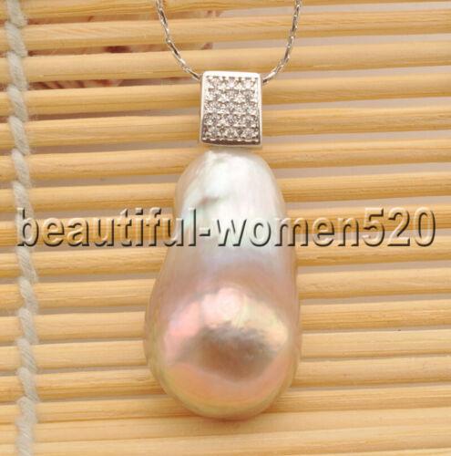 Z8485 Lisse 30 mm lavande Teardrop Keshi reborn perle pendentif