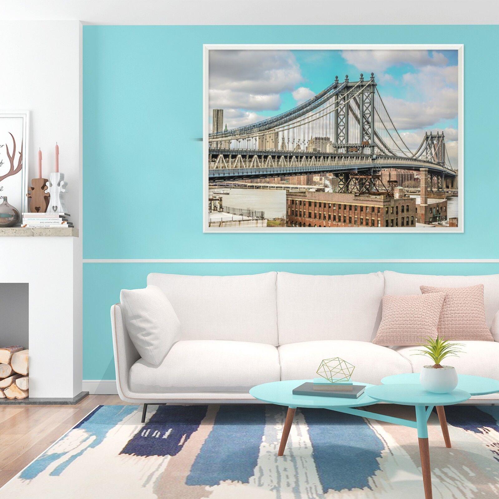3D Bridge Buildings 1 Framed Poster Home Decor Print Painting Art AJ WALLPAPER