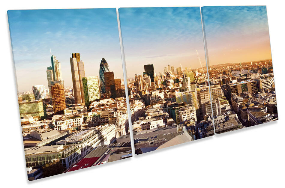 London City Sunset Skyline TREBLE CANVAS WALL ART Print Picture