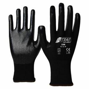 1 Paire De Gants Nylon Noir Revêtus Nitrile Noir (taille 7-8-9-10-11) 5udeo1u5-07213606-668904876
