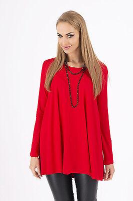 Sensible Women's Top Mini Dress Scoop Neck Tunic Long Sleeve Sizes 8-18 8538