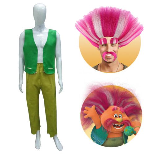 Trolls King Peppy Cosplay Costume Green Vest Pants or Pink Wig Halloween Party