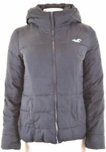 HOLLISTER-Womens-Padded-Jacket-Size-10-Small-Navy-Blue-Polyester-GE10