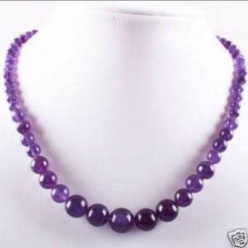 """Natural Beautiful 6-14 mm Améthyste Perles rondes gemme Collier 18/""""AAA+"""