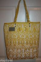 Isabella Fiore Lemon Yellow Canvas Leather Ikat Shopper Tote Bag $145