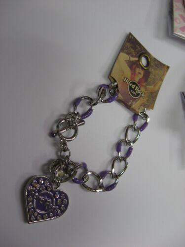 Purple /& Silver Hard Rock Cafe HRC Purple /& Crystal Heart Charm Bracelet