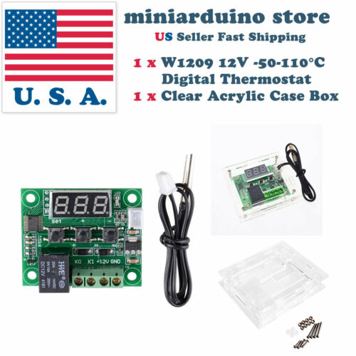 Acrylic Case Box US W1209 Digital thermostat Temperature Control Switch Sensor