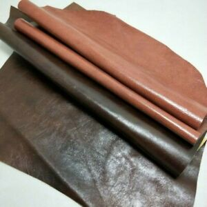 Genuine-Real-Leather-Chestnut-Fabric-First-Layer-Cowhide-Hide-Cut-Scrap-Soft-DIY