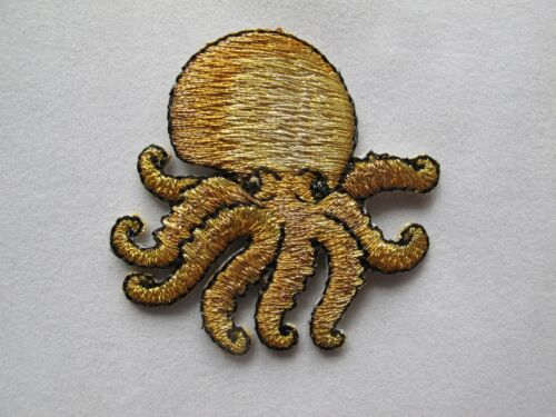 #3290 Golden Cuttlefish Embroidery Iron On Applique Patch