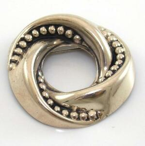 VTG-Beau-Sterling-Silver-Repoussee-Round-Circle-Bead-Ball-Modernist-Pin-Brooch