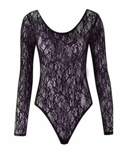 New Women/'s Long Sleeve Floral Lace Bodysuit Ladies Flower Lace Top Leotard 8-22