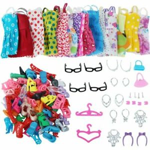 Clothes-And-Accessories-For-Barbie-Doll-42-Pcs-Party-Dress-Outfit-Glasses-Shoes