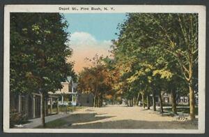 Pine-Bush-NY-c-1915-20-Postcard-DEPOT-STREET-From-Near-Railroad-Avenue