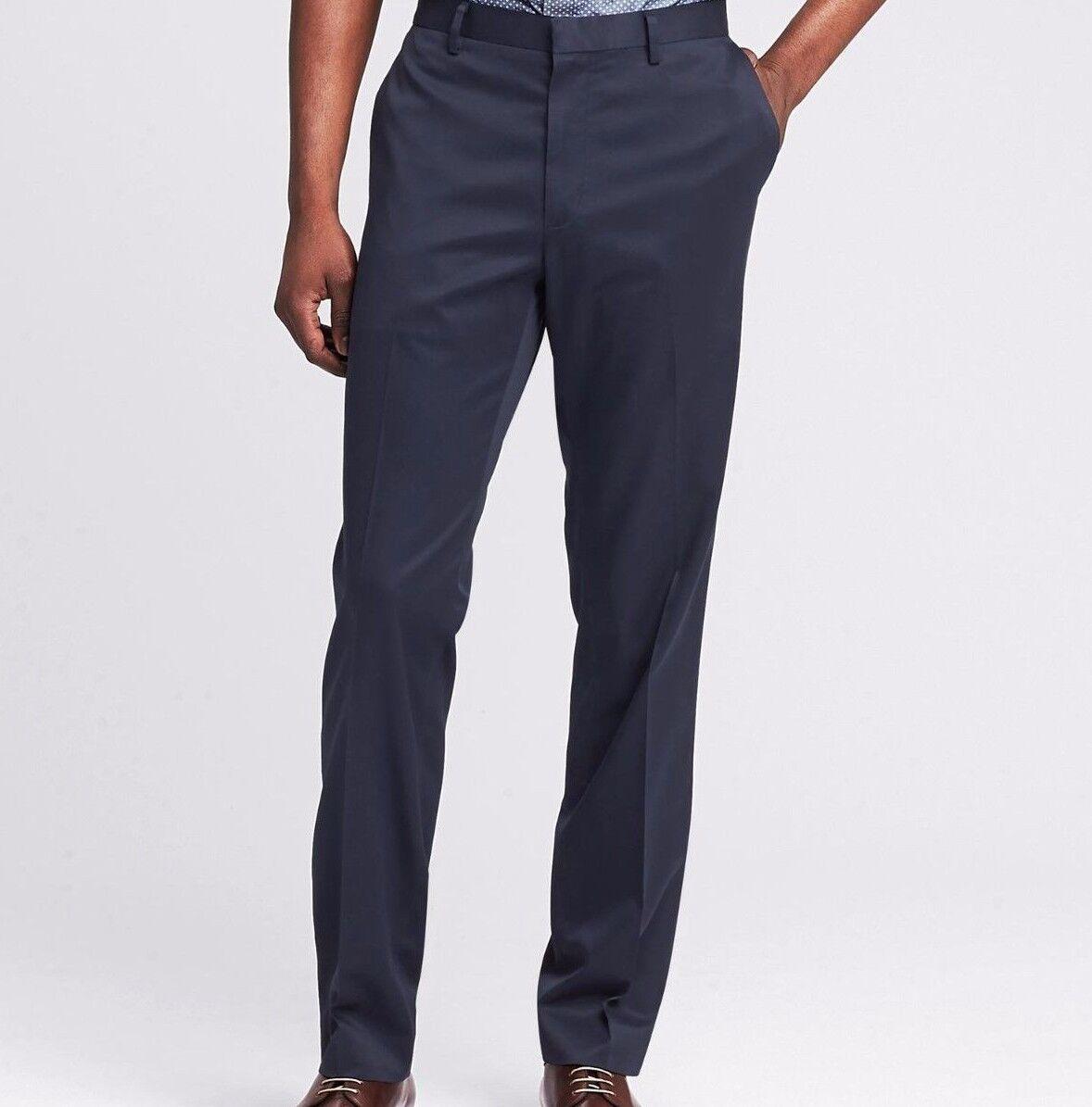 Banana Republic Modern Slim Non-Iron Cotton Pant, Navy SZ 42 X 32  v722