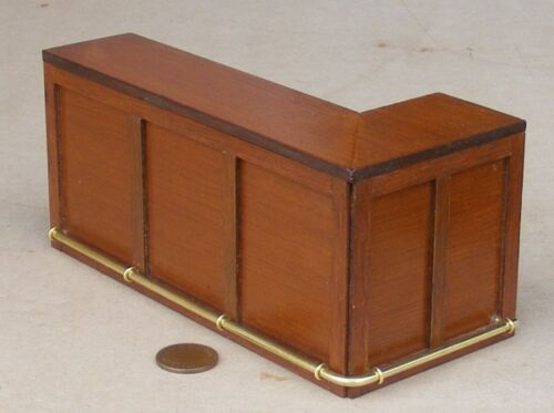 1:12 Scale Stained Wooden Angled Bar With A Short Left Side Tumdee Dolls House
