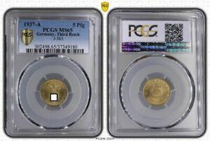 Third Reich 5 Pfennig 1937 A Fresh Mint Condition PCGS MS65 (36777)