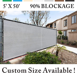 Royal Shade 5/' x 50/' Grey Fence Privacy Screen Windscreen Cover Netting Mesh